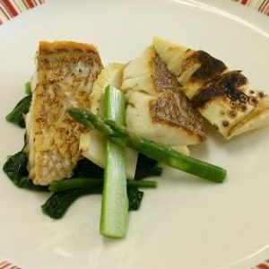 鯛とタケノコのグリル 2種のディップ添え