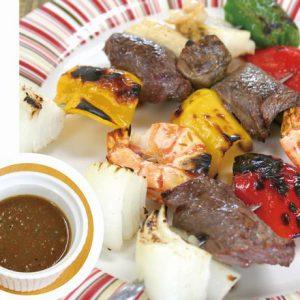 牛肉・海鮮・野菜のブロシェット